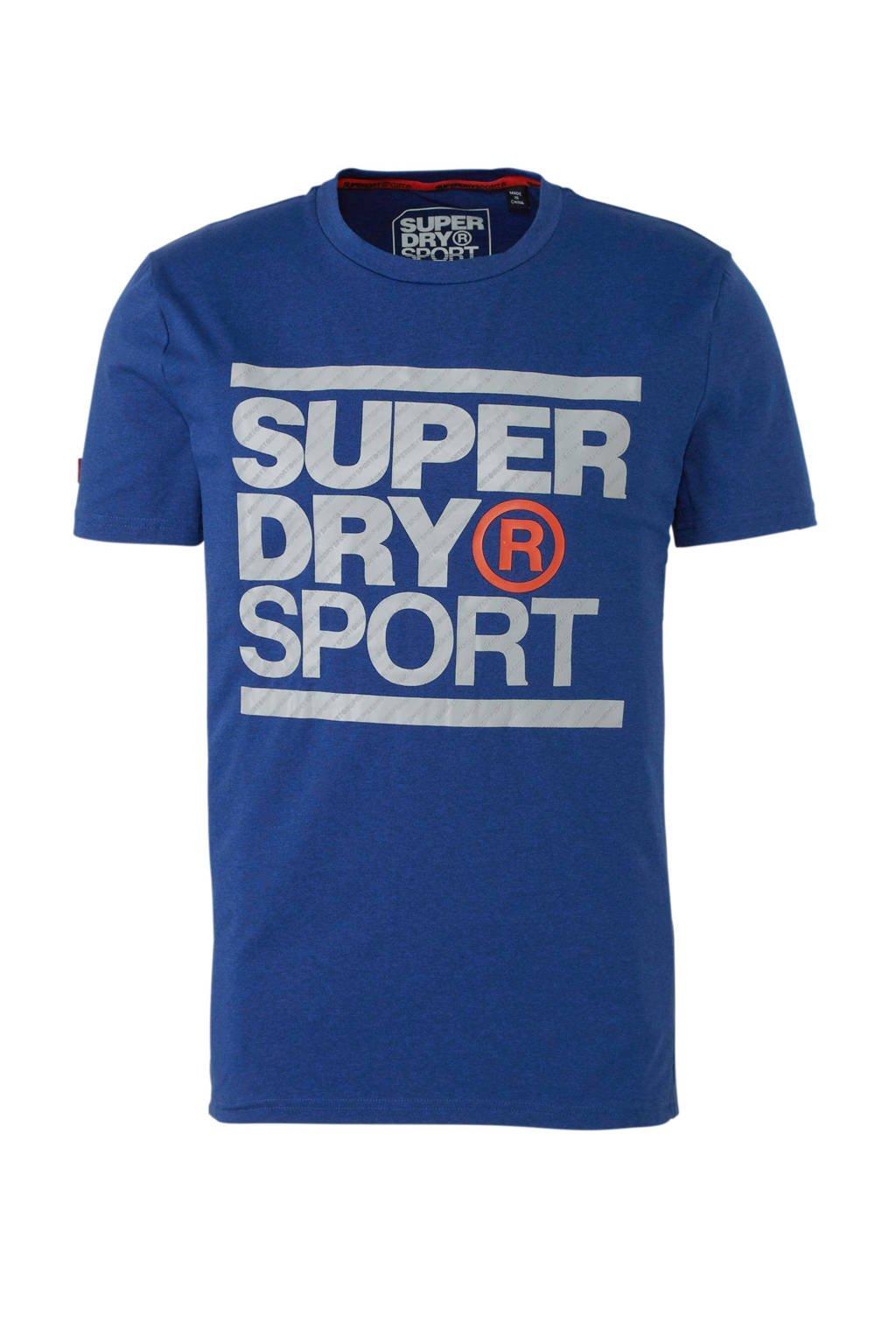exclusief assortiment knap kwaliteitsproducten sport T-shirt met printopdruk blauw/grijs/oranje