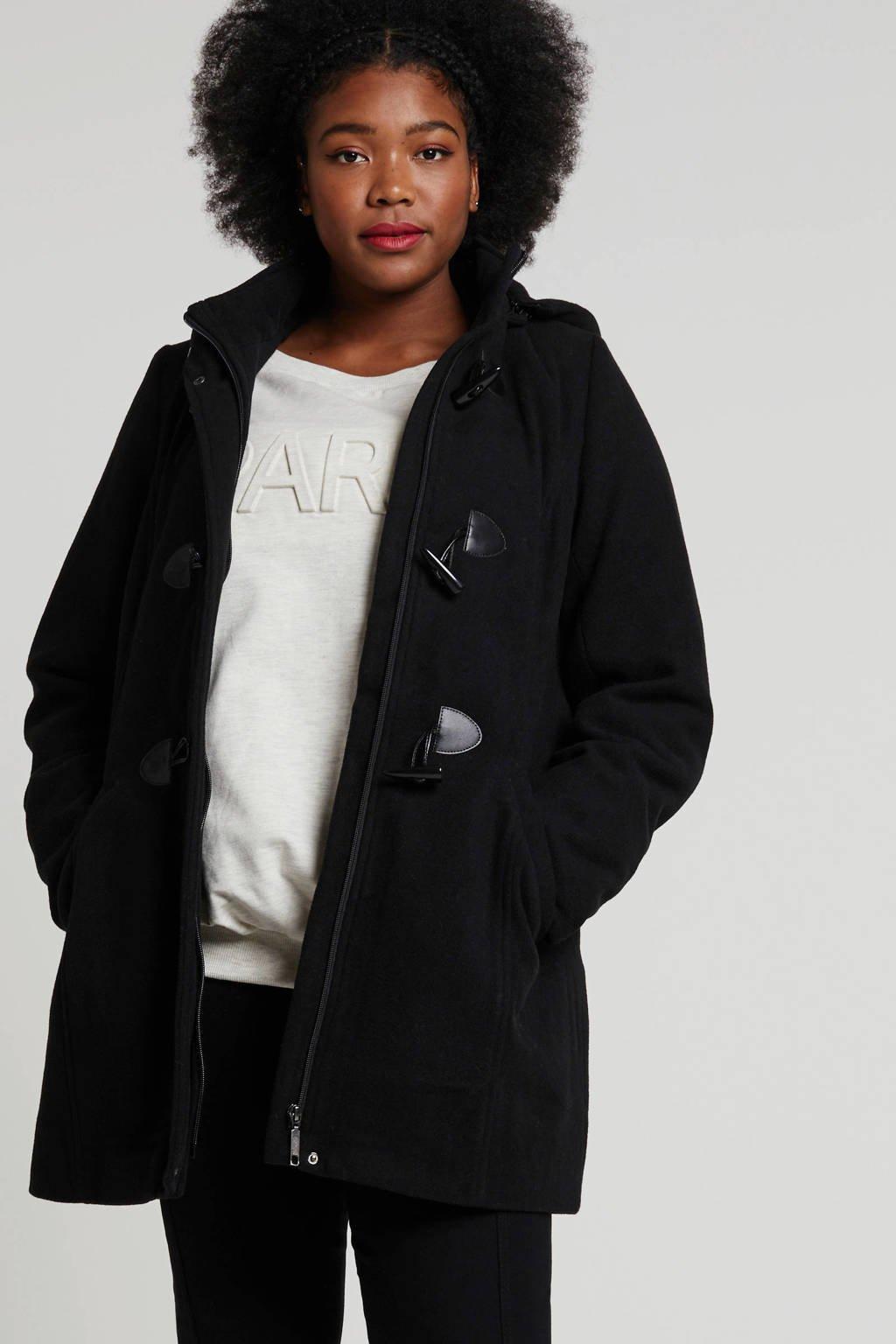 Zhenzi winterjas met wol zwart, Zwart