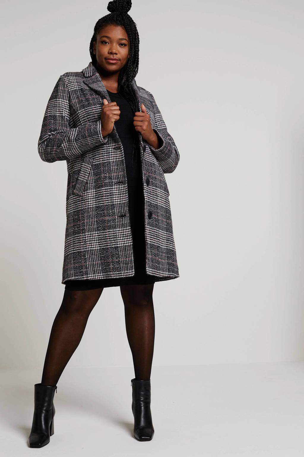 Zhenzi geruite coat zwart, Zwart