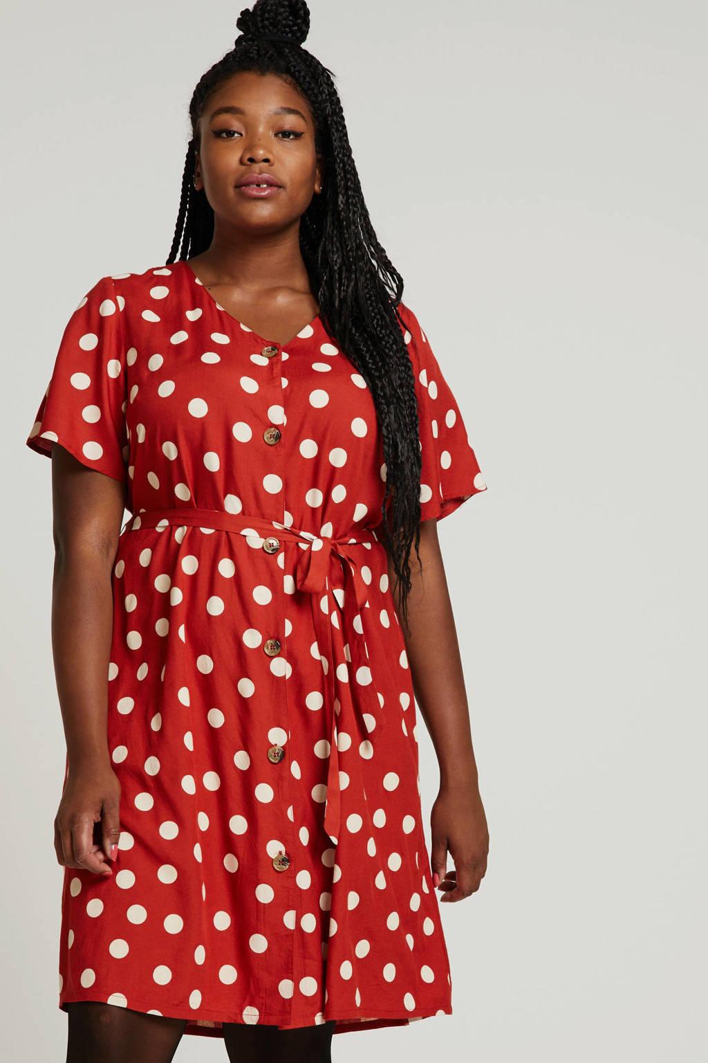 Zhenzi blousejurk met stippen en ceintuur rood/wit, Rood/wit