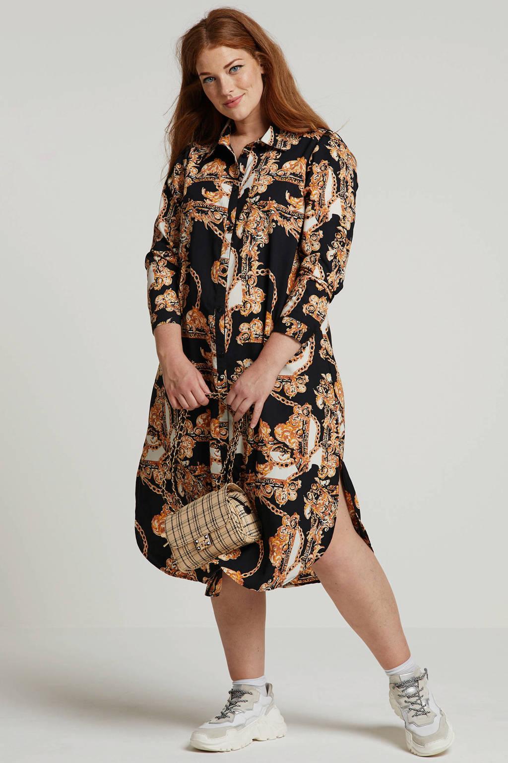 Zhenzi blousejurk met all over print zwart multi
