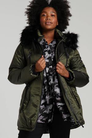 Plus by gewatteerde jas groen/zwart