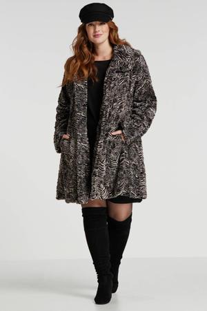 Plus by winterjas met zebraprint zwart/wit