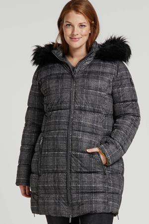 Plus by geruite gewatteerde jas zwart/grijs
