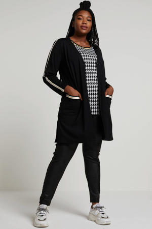 vest met contrastbies zwart/wit/beige