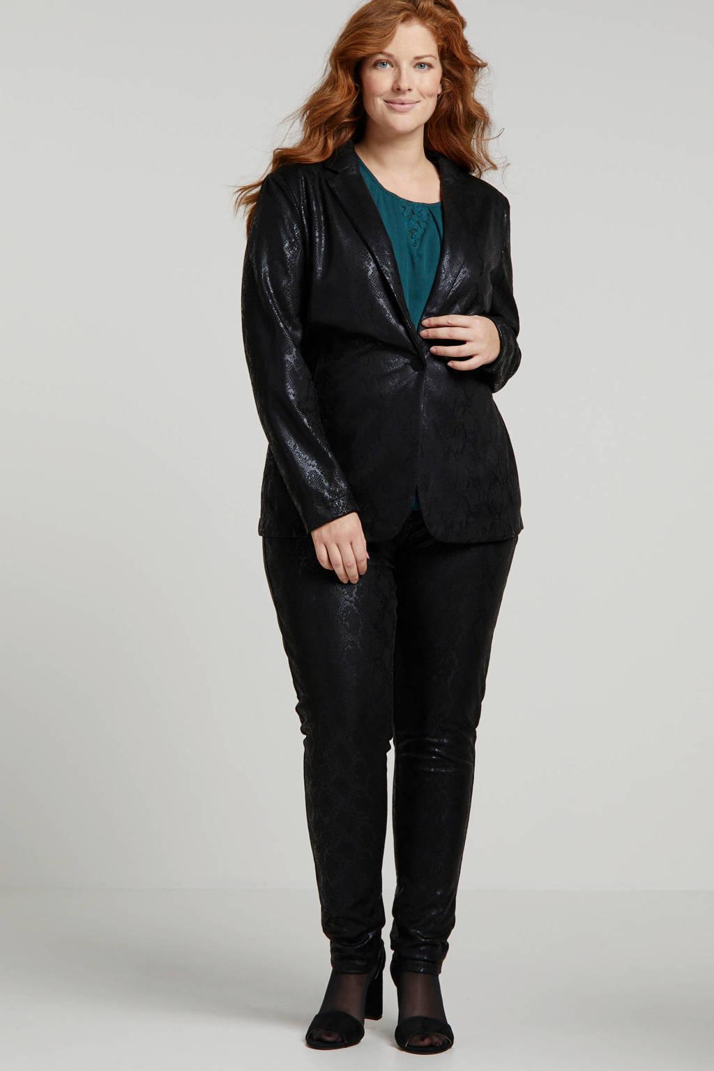 Adia coated skinny broek met slangenprint zwart, Zwart
