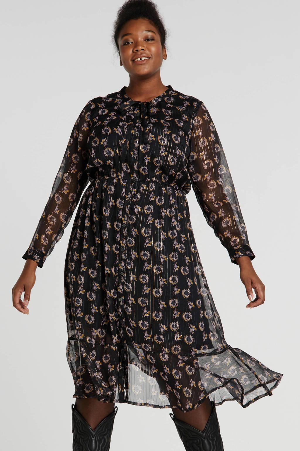 Adia gebloemde semi-transparante jurk zwart/goud, Zwart/goud
