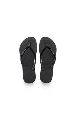 Slim Velvet  teenslippers zwart