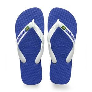 Brasil Logo   teenslippers wit/blauw