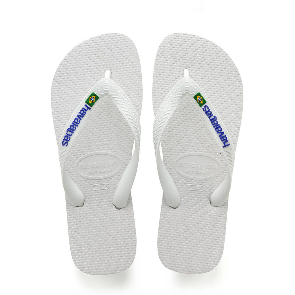 Havaianas Brasil Logo teenslippers wit, Wit/blauw/groen/geel