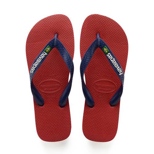 Havaianas Brasil Logo teenslippers rood/blauw kopen
