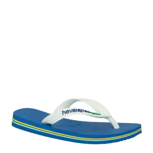 Havaianas Brasil Logo teenslippers blauw/wit kopen