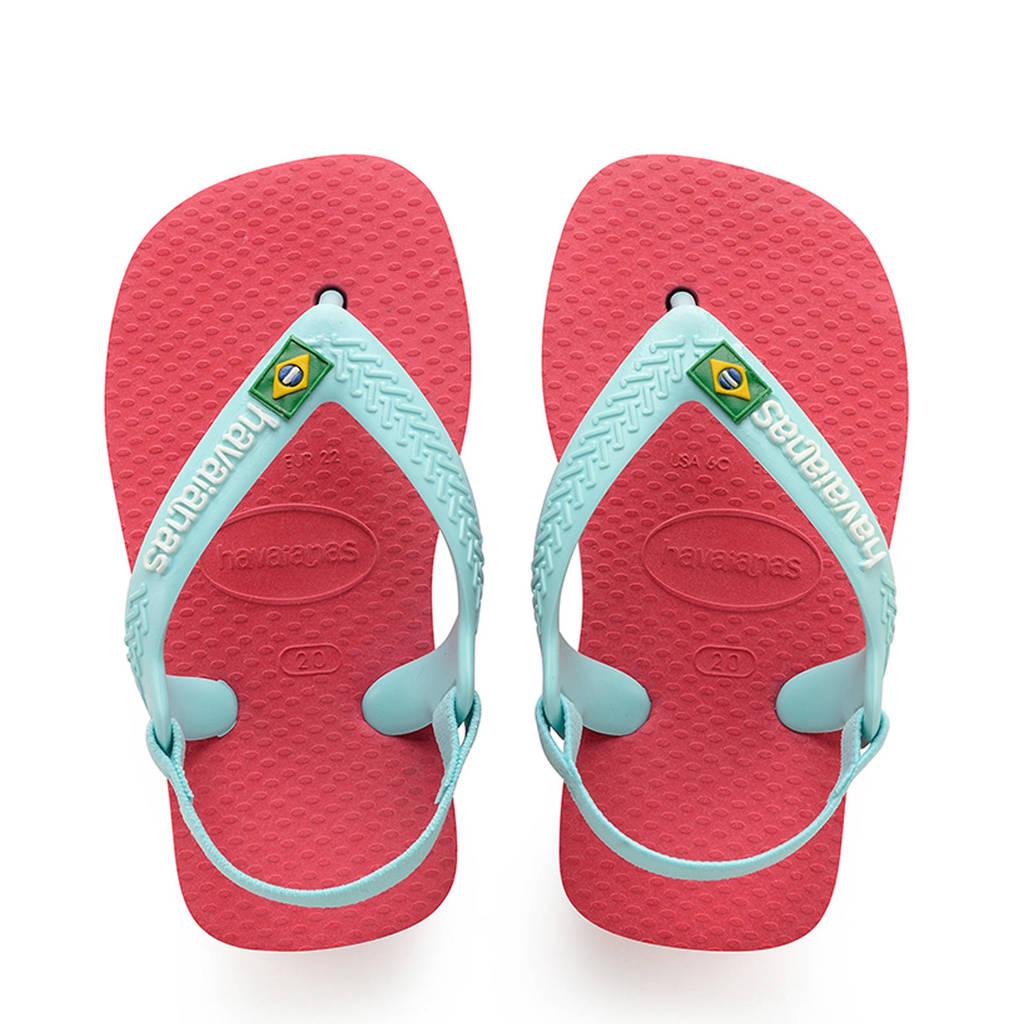 Havaianas Baby Brasil Logo II Flamino sandalen roze/mintgroen, Mintgroen/roze