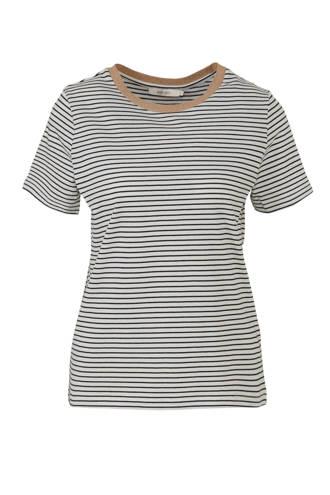 gestreept T-shirt met contrastbies marine/wit