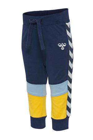 joggingbroek donkerblauw/lichtblauw/geel