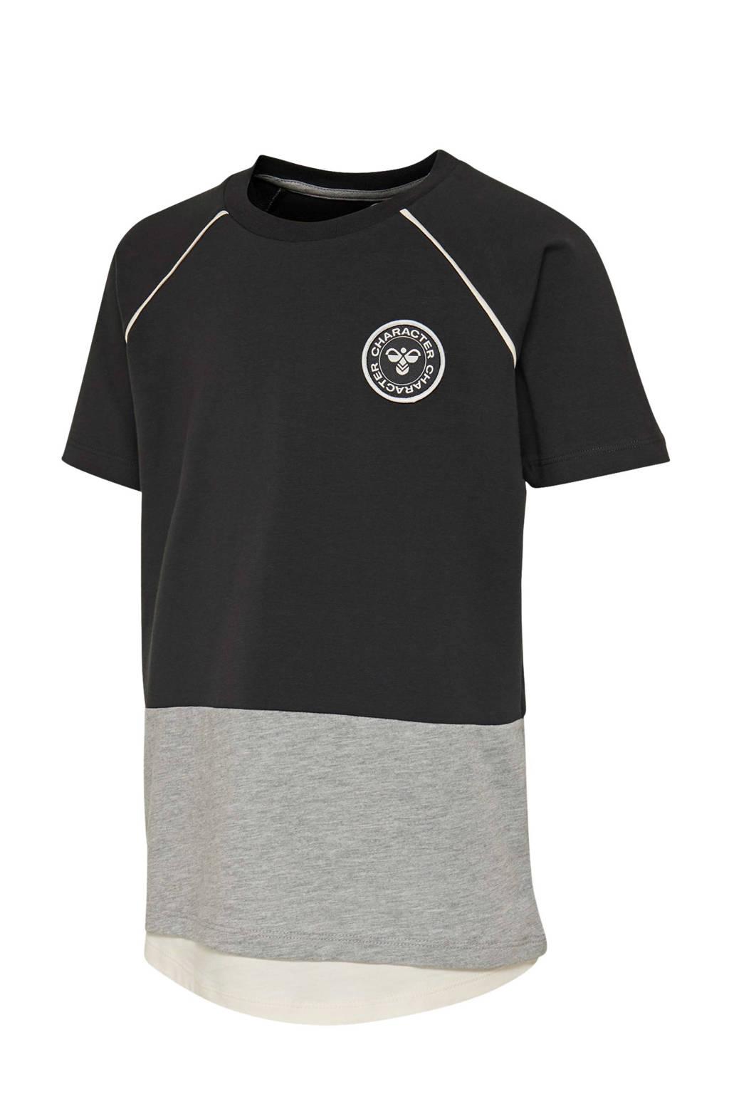 hummel T-shirt zwart/grijs/wit, Zwart/grijs/wit