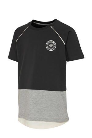 T-shirt zwart/grijs/wit