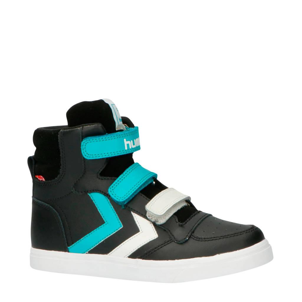 hummel Pro Jr. Stadil leren sneakers zwart/wit/aqua, Zwart/wit/aqua