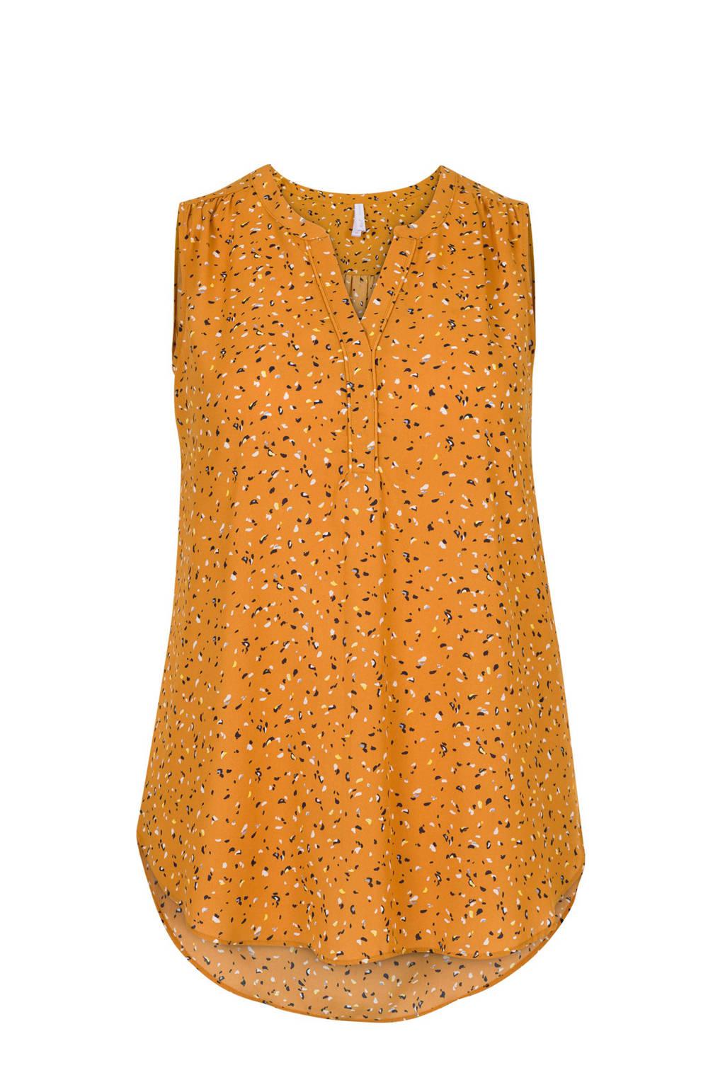 Miss Etam Plus top met all over print oranje, Oranje