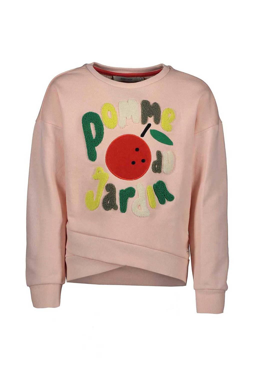 Sissy-Boy sweater met tekst en overslag roze, Roze