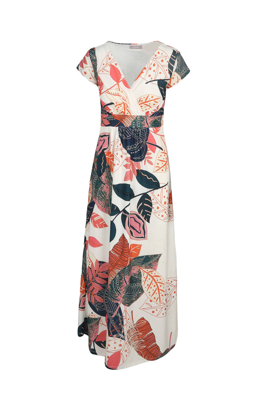 Cassis maxi jurk met overslag ecru, Ecru