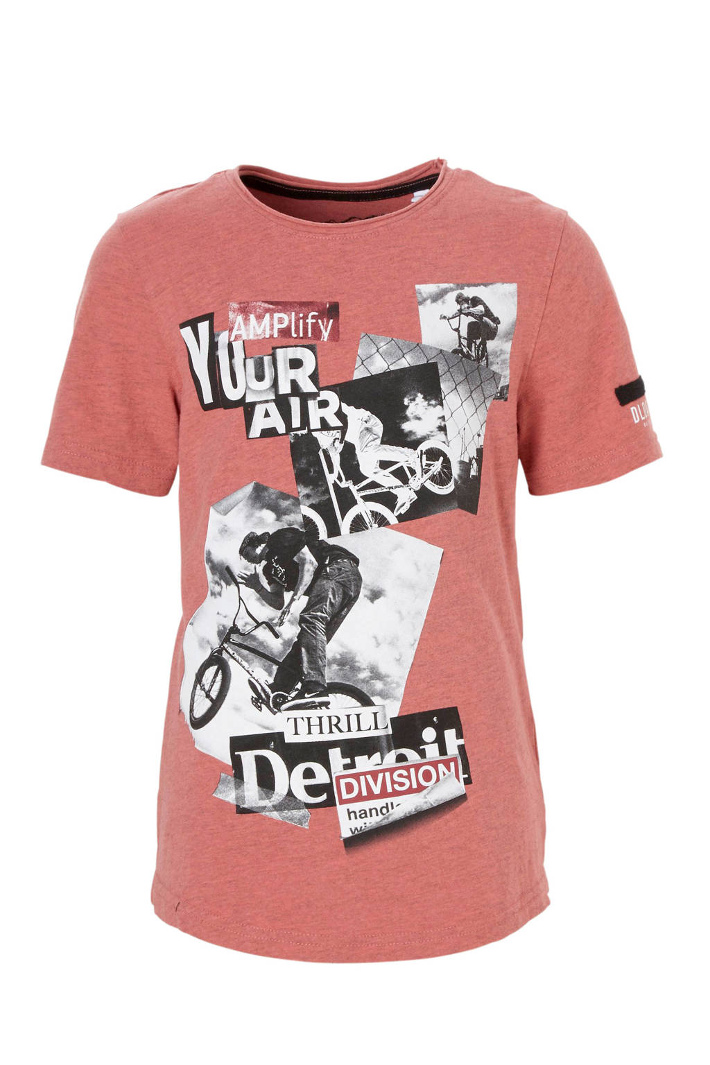 C&A Here & There T-shirt met printopdruk roze, Roodroze