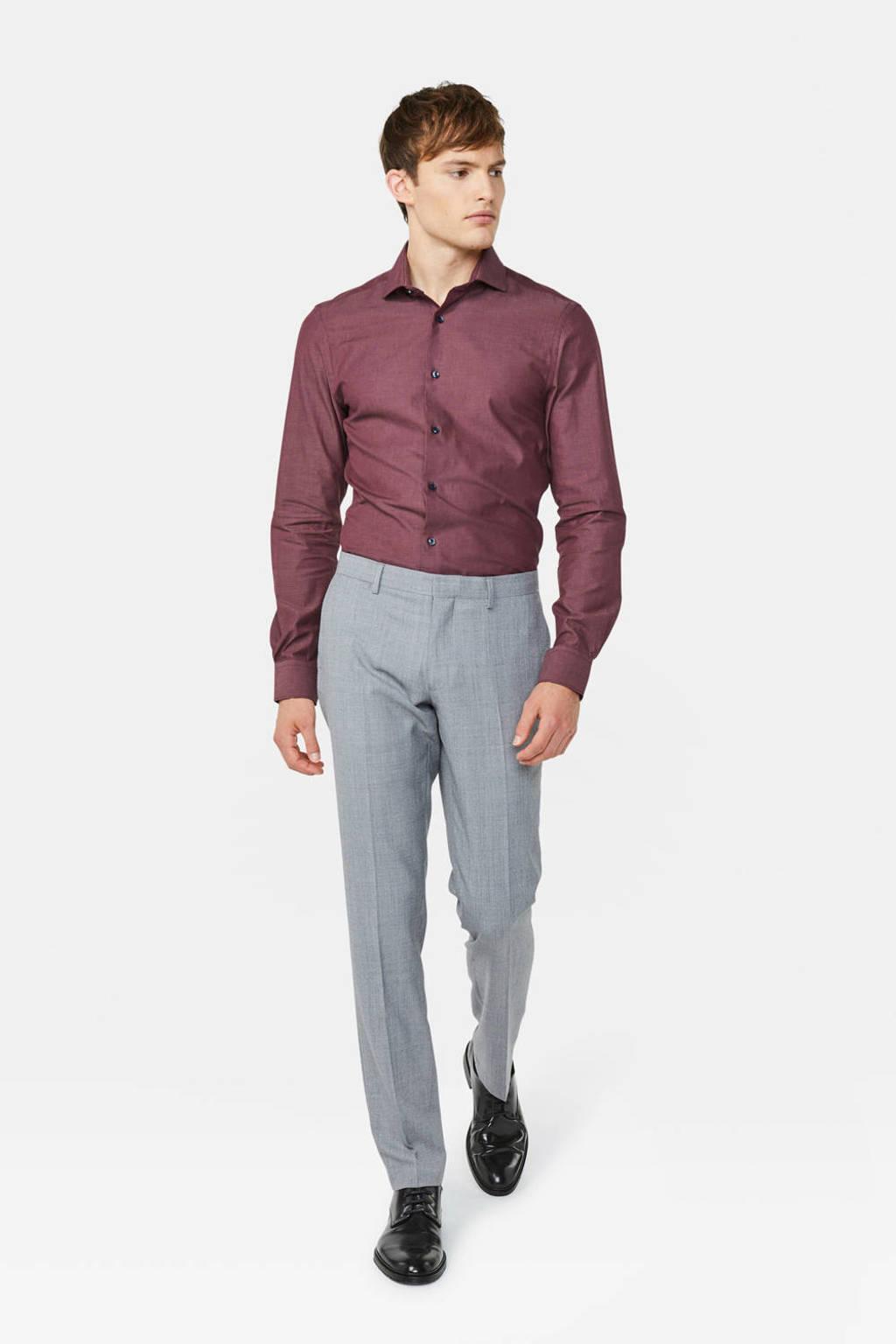 WE Fashion gemêleerd slim fit overhemd donkerrood, Donkerrood