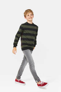 WE Fashion Blue Ridge gestreepte sweater legergroen, Legergroen