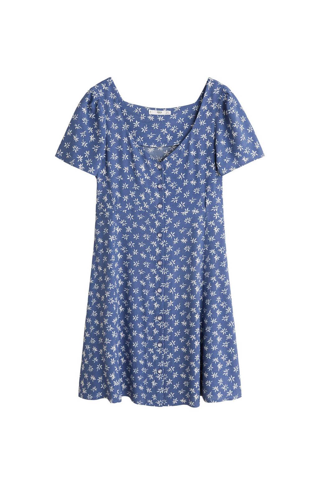 Mango gebloemde jurk, Blauw/wit