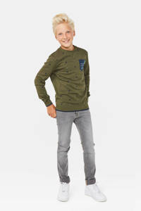 WE Fashion sweater met all over print donkergroen/blauw, Donkergroen/blauw