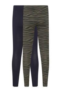 WE Fashion legging met zebraprint kaki/donkerblauw - set van 2, Kaki/donkerblauw