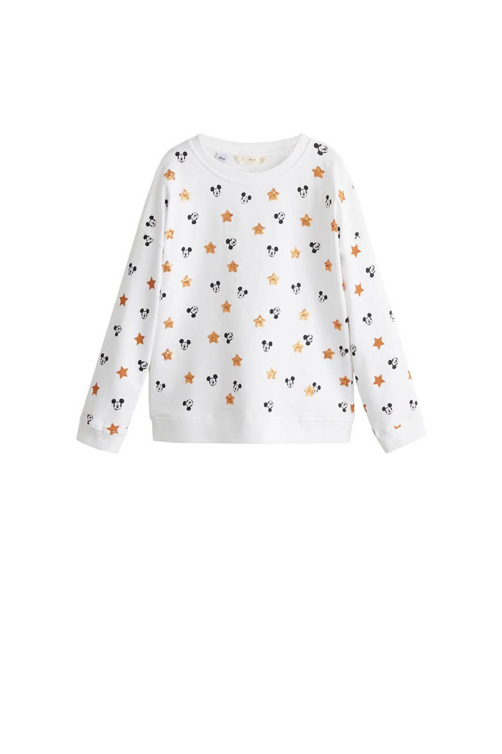 Mango Kids sweater met allover Mickey Mouse dessin wit, Wit/geel/zwart