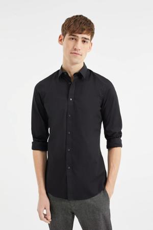long slim fit overhemd zwart