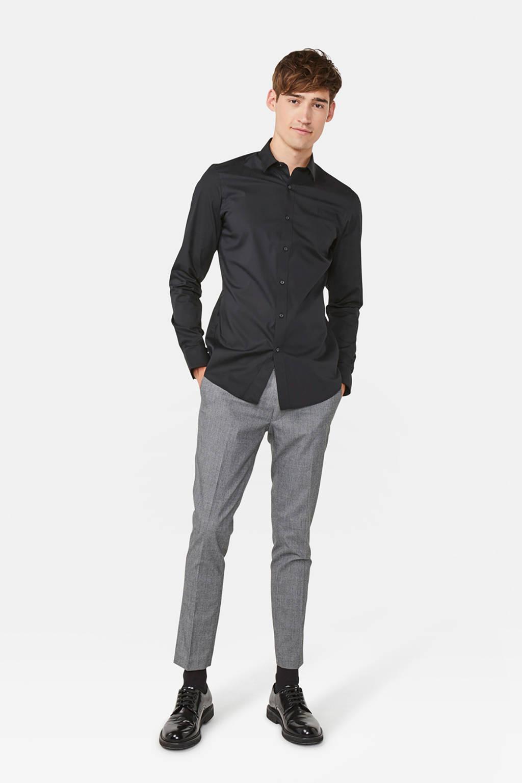 WE Fashion Fundamentals long slim fit overhemd zwart, Zwart