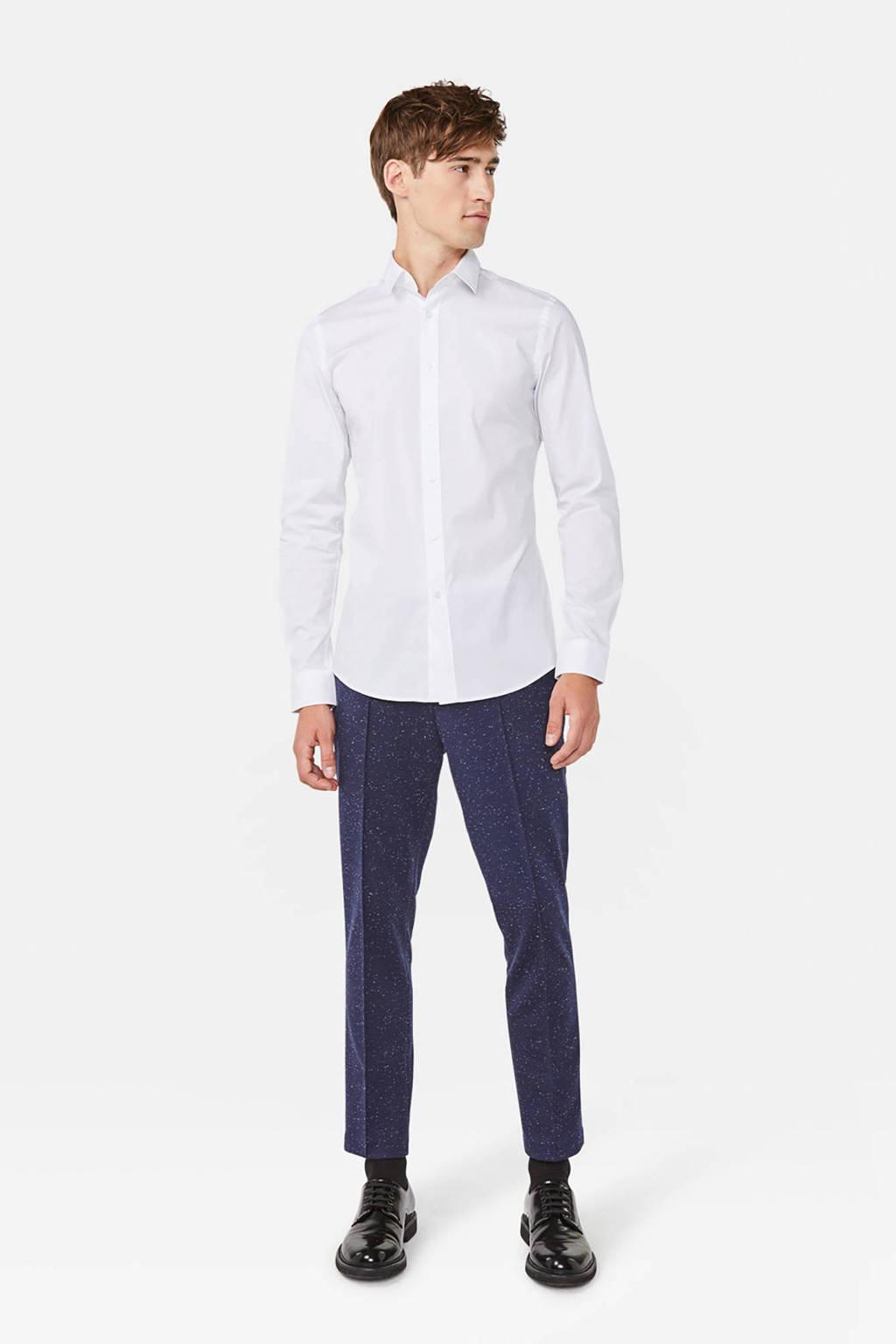 WE Fashion long slim fit overhemd wit, Wit