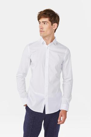 long slim fit overhemd wit