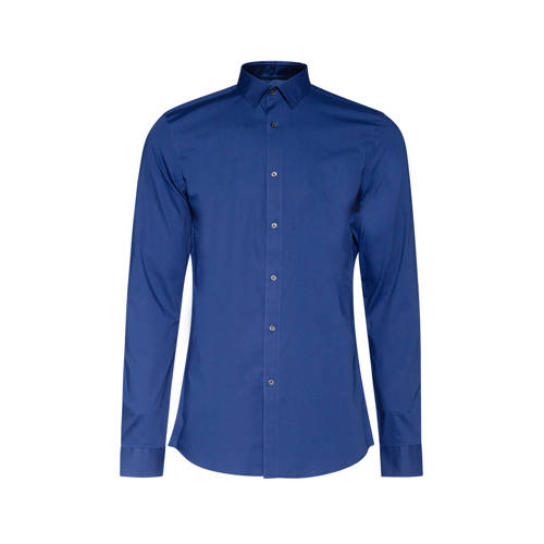 WE Fashion long slim fit overhemd blauw