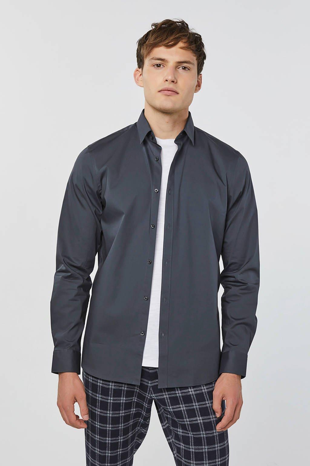 WE Fashion regular fit overhemd donkergrijs, Donkergrijs