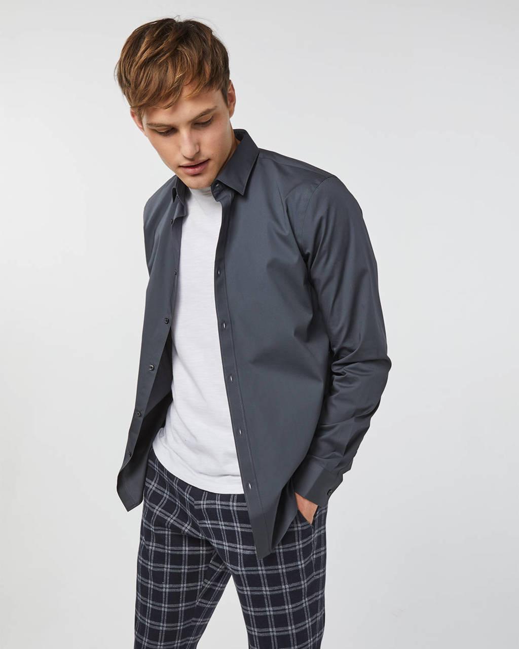 WE Fashion Fundamentals regular fit overhemd donkergrijs, Donkergrijs