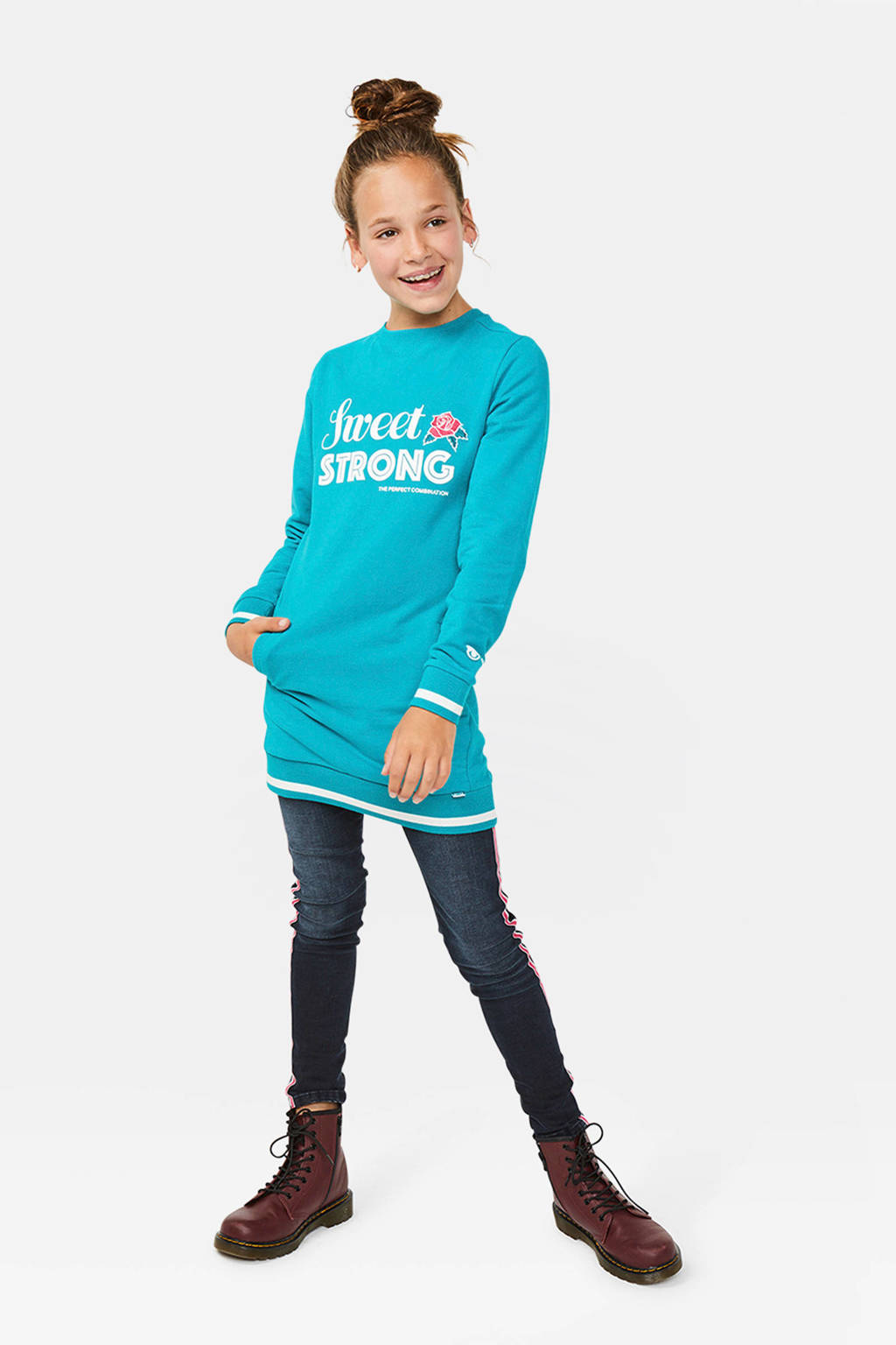 WE Fashion sweatjurk met tekst blauw, Blauw