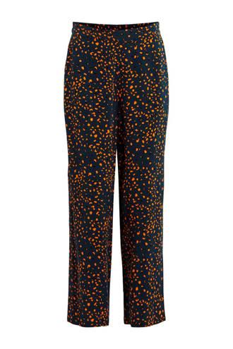 loose fit broek met all over print donkerblauw/groen/geel