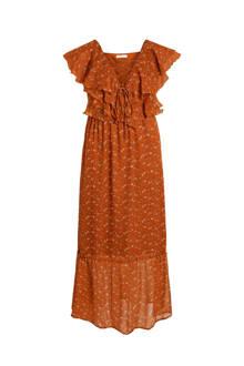 gebloemde jurk met volant bruin