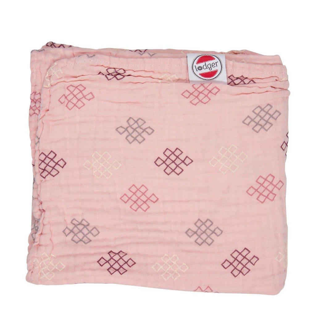 Lodger babydeken Dreamer Muslin Knot Xandu 120x120cm lichtroze, Roze