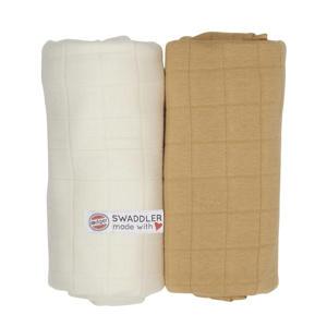 solid hydrofiele doeken 70x70 cm ecru-okergeel (set van 2)