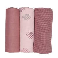 Lodger empire knot hydrofiele doeken 70x70 cm donkerroze (set van 3), Donkerroze