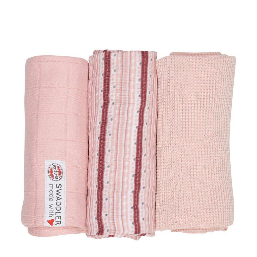 Lodger empire stripe hydrofiele doeken 70x70 cm roze (set van 3), Roze