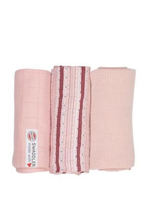 empire stripe hydrofiele doeken 70x70 cm roze (set van 3)