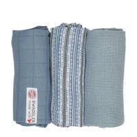 Lodger empire stripe hydrofiele doeken 70x70 cm blauw (set van 3), Blauw