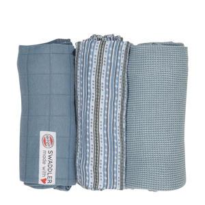 empire stripe hydrofiele doeken 70x70 cm blauw (set van 3)