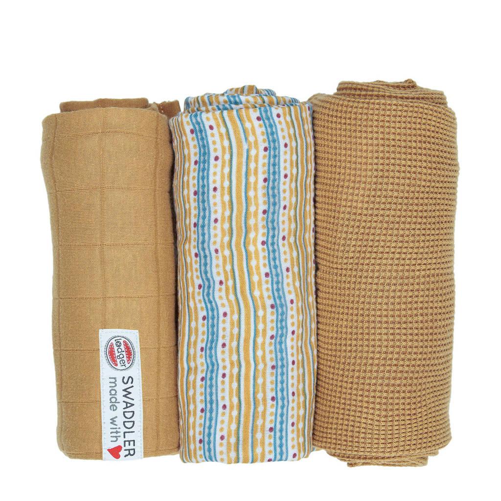 Lodger empire stripe hydrofiele doeken 70x70 cm okergeel (set van 3), Okergeel